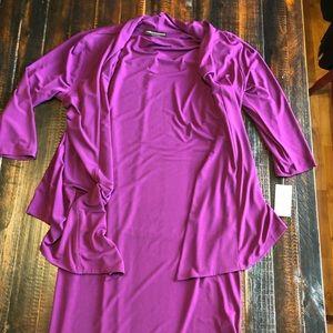 Formal dark plum dress. Built in cardigan